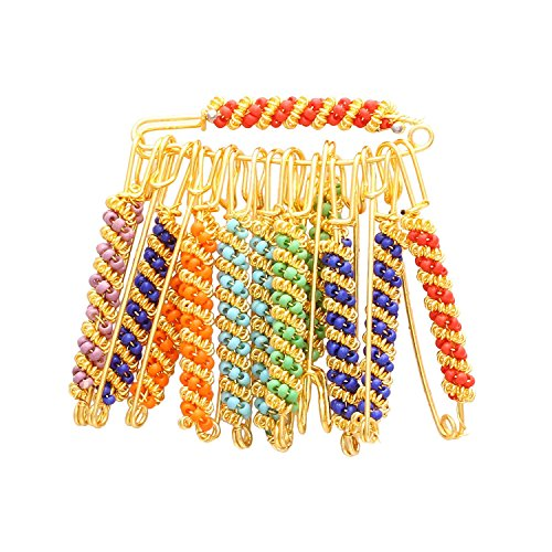 CATALYST Gold Plated Assorted Multi Colours Set of 12 Dupatta, Saree Ethnic Safety pins Jewellery Women (27SPIN)