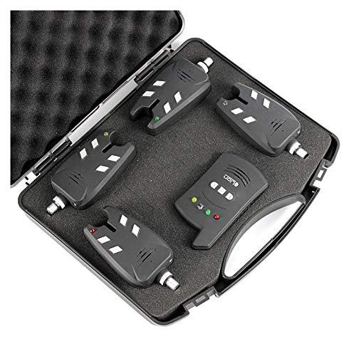 CX TECH Karpfenangeln Bissanzeiger Set 4tlg Farben LED Wasserdicht Funk Bewegungsmelder & Sensor mit 100m Reichweite Deluxe Tragbarer Koffer