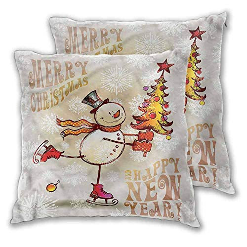 Xlcsomf Christmas Pillowcase Soft decorative, 12 x 12 Inch Skating Happy Snowman Double-sided printing Christmas decoration Set of 2