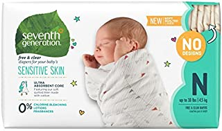 Seventh Generation Baby Diapers for Sensitive Skin, Plain Unprinted, Newborn, 144 Count..