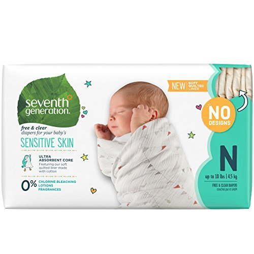 Seventh Generation Baby Diapers for Sensitive Skin, Plain Unprinted, Newborn, 144 Count (Packaging...