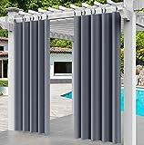 Comlax Außenvorhänge für Patio Wasserdichte 132x215cm(B x H), wärmeisolierte Vorhänge mit abnehmbarer Kunststoffschnalle, verdunkelungsgewichtete Vorhänge für Veranda, Pergola, Pavillon, 1 Stück, Grau