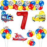 7 Anni Compleanno Decorazione, Forniture per Feste a Tema Veicoli Set di Palloncini in Num...