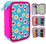 ESTUCHE ESCOLAR PLUMIER STARPLAST - 3 compartimentos, 16 lápices de colores, 16 rotuladores de colores, sacapuntas, goma, 3 bolígrafos para uso escolar, regalo - DISEÑO CORAZONES FONDO AZUL