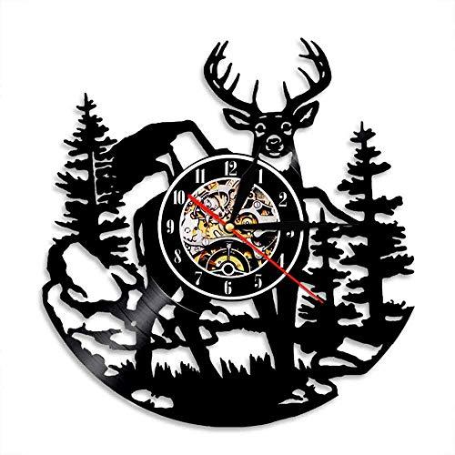 LKJHGU Reloj de Pared de Vinilo Vintage Abedul Ciervo del Bosque decoración de Pared de Ciervo del Bosque diseño Moderno Disco de Vinilo Club de Caza Animales