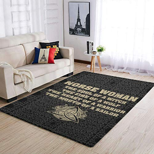 WOMAN Viking Soul Fire Wolf Heart Of Area Rug Luxury Patterns Easy Clean -Blanket For Home Decor white 50x80cm