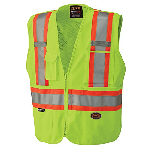 Pioneer Tear-Away High Visibility Safety Vest, Front Zipper, Mesh Back, Yellow-Green, L, V1021260-L
