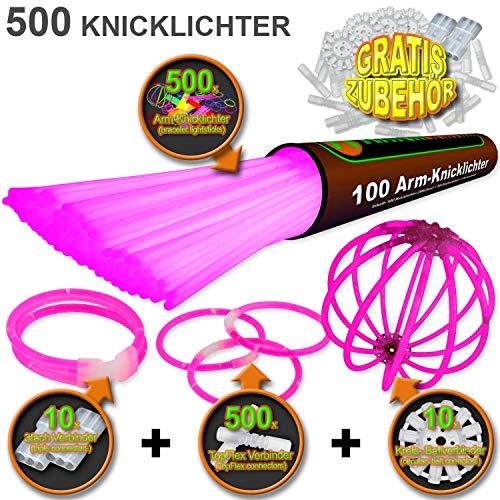 500 Knicklichter PINK | inkl. 500x TopFlex | 10x Dreifach | 10x Ball Verbinder | Premiumqualität