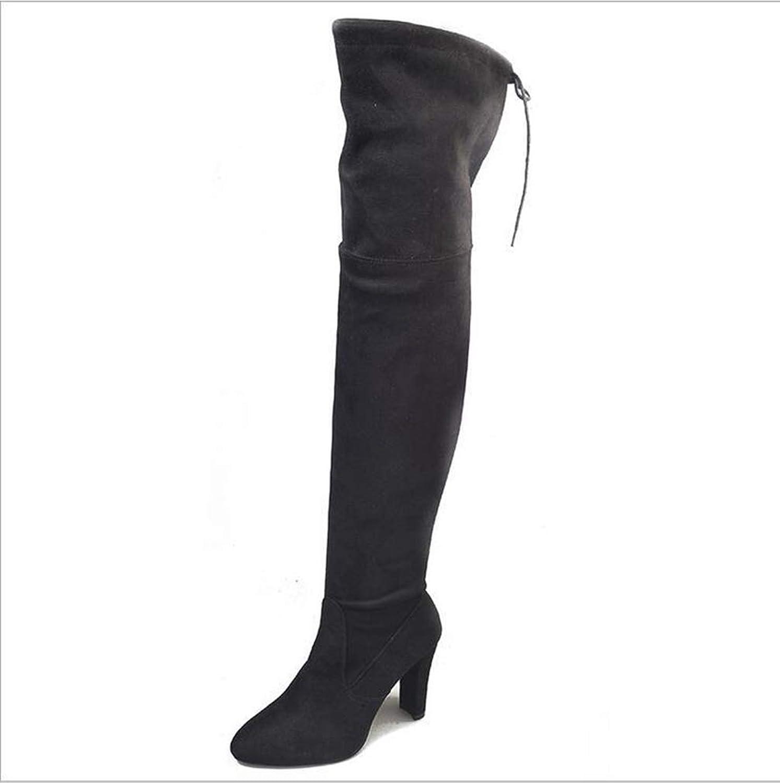 T -JULY Woherrar svart Over the Knee stövlar Sexy kvinnor kvinnor kvinnor Autumn Winter Lady Thigh höga stövlar Knee höga stövlar Storlek 34 -43  exportutlopp