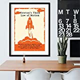 Danjiao Newtons Gesetze Der Bewegung Vintage Poster Und Drucke Physik Wandkunst Leinwand Gemälde Bilder Büro Wanddekor Physiker Geschenke Wohnzimmer 60x90cm