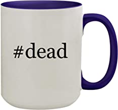 #dead - 15oz Hashtag Ceramic Inner & Handle Colored Coffee Mug, Deep Purple