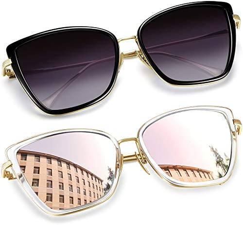 Joopin Oversized Cateye Sunglasses for Women Fashion Metal Frame Cat Eye Womens Sunglasses Black product image