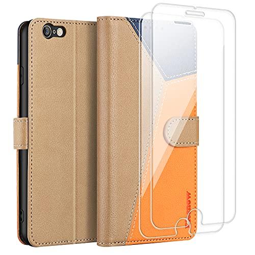ELESNOW Cover iPhone 6 Plus   6s Plus, Custodia Antiurto con [Protezione Vetro Temperato], Custodia in Pelle Magnetica Libro Flip Portafoglio per iPhone 6 Plus   6s Plus - 4.7  (Cachi)