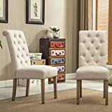Roundhill Furniture Habit Solid Wood Tufted Parsons Dining...