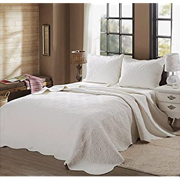 Chezmoi Collection Riley 3 Pieces Tufted Solid Reversible 100/% Cotton Soft-Finished Quilt Set Queen, Antique White