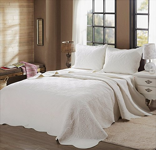 Cozy Line Home Fashions Victorian Medallion Solid Ivory Matelasse Embossed 100% Cotton Bedding Quilt Set,Coverlet,for Bedroom/Guest Room (Blantyre - Ivory, King - 3 Piece)