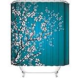 DIYPNM Schimmel Duschvorhang Pfirsichblüte 3D Vorhang Umweltfre&lich Waschbarer Anti-Schimmel Anti-Bakteriell Schimmelresistent Polyester mit 12 Stück 180x180cm
