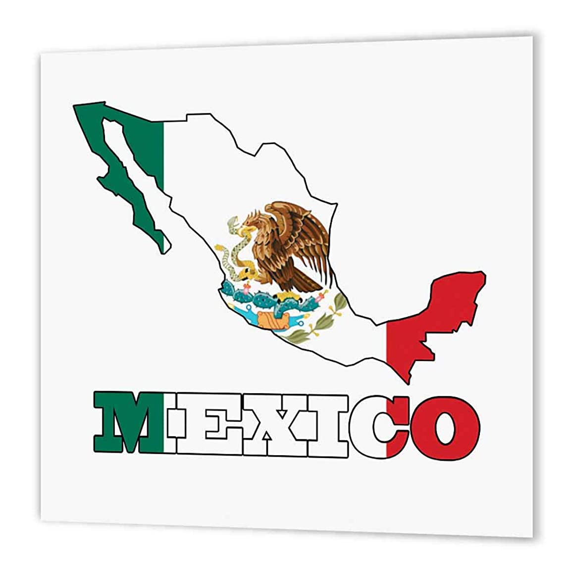 3dRose ht_58735_1 Mexican Flag in The Outline Map & Letters for Mexico Iron on Heat Transfer Paper for White Material, 8 by 8