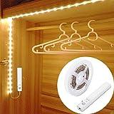 LUXJET Bewegungssensor LED Licht, Flexible 1M LED-Leiste, Batteriebetriebenes Warmweiß für Wandschrank, Treppe, Schublade, Schrank
