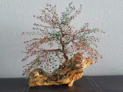 Home Decor Willow Beaded Wire Tree Bonsai Green, Gold Glass Beads & Copper Wire