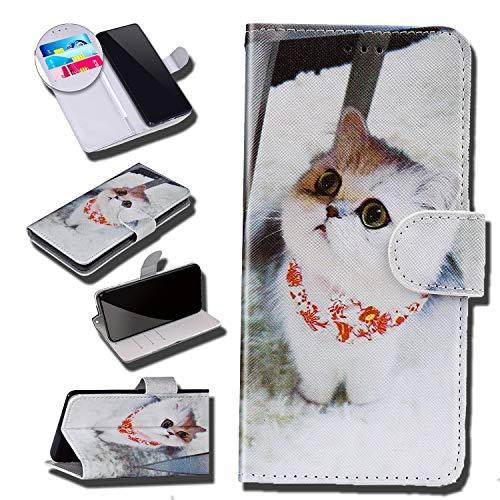 Urhause Funda Compatible con Sony Xperia XA2 Plus Cuero Carcasa Dibujos Patrón PU Leather Suave Flip Folio Funda Billetera Tarjeta Soporte Plegable Cierre Magnético Piel Protectora Case,Gato#2