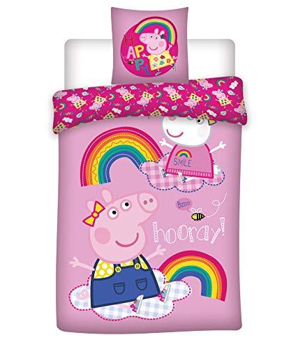 Peppa Pig Rainbow Kids Cotton Duvet and Pillow Cover Set 140 x 200 cm, 60 x 63 cm