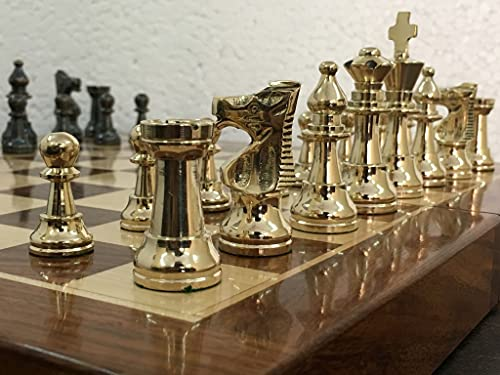 CHESSNCRAFTS Brass Metal Staunton Chess Pieces/Coins Set with Folding Wooden Chess Board 14 inches (Non Magnetic)- Special Slots Storage Inside Board-Best for Gifting, Home Decor & Playing.
