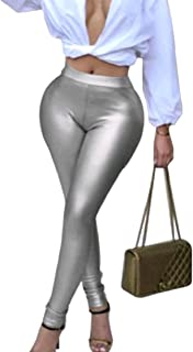 DressU Women's Faux Fur Oversized Jeggings Shinny Long Pencil Pants