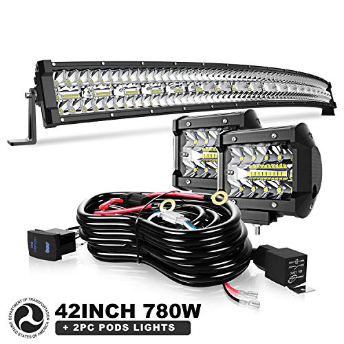42 Inch 780W Curved Led Light Bar Triple Row Flood Spot Combo Beam Off Road Lights Bar 2pc 4 Inch 60W Driving Fog Lights with Rocker Switch Harness Wiring for Trucks ATV UTV Jeep Boat Pickup