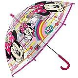 Paraguas Minnie Mouse Paraguas Transparente Cupula Infantil Paraguas Fibra de Vidrio Resistente Antiviento Paraguas Niña Niño 64cm