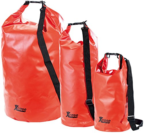 Xcase Trockentasche: Urlauber-Set wasserdichte Packsäcke 16/25/70 Liter, rot (Packsäcke aus LKW-Plane)