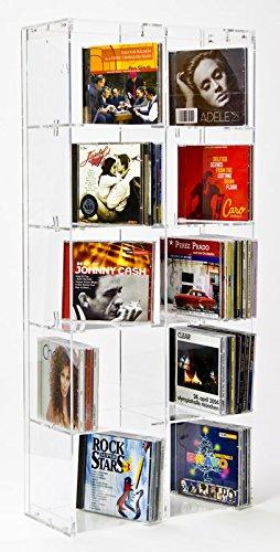 SORA Scaffale porta CD in acrilico 33,5 x 75 cm con pannello posteriore trasparente