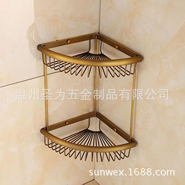 Copper bathroom racks wall mounted bathroom double triangular basket corner drain basket bathroom shelves tripods