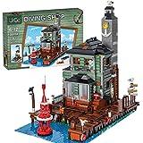 SESAY Juego de construcción de bloques de construcción para casa, cabina de boya antigua, modelo de arquitectura modular, 2361 piezas, compatible con tienda de pesca Lego 21310