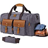 WOWBOX Duffle Bag for Men Women Canvas Genuine Leather Large Duffel Bag Overnight Weekender Bag with Waterproof Shoe Compartment+Shoulder Strap with Pad, Gym Bag Travel Luggage Bag with Tag(Grey)