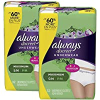 64-Count Always Discreet & Postpartum Incontinence Underwear for Women