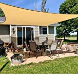 HORSE SECRET Sun Shade Sail Rectangle 6' x 8', UV Block Canopy Solar Sunshade Cover for Outdoor Patio Garden Lawn Porch Table Backyard Facility and Activities, Sand Color