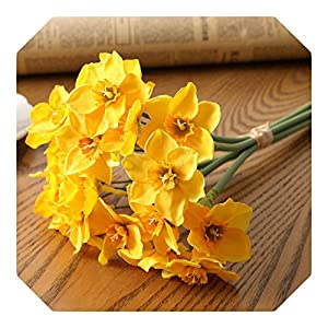 Dreamture 6pcs/Lot Home Room Artificial Simulation Narcissus Flower Living Room Window Decor Fake Flowers Wedding Scene Decor Daffodil-Yellow-