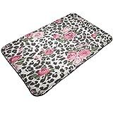 Alfombra de entrada con estampado de leopardo de rosa rosa rosa con estampado de guepardo, diseño de flores de abrazo de flores de la vida, alfombra de entrada para el piso de interior/baño de goma