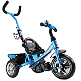 Deuba Tricilo evolutivo para niños Azul con Barra de Empuje Extraíble Cinturon de Seguridad Cesto y Reposapiés Ajustable
