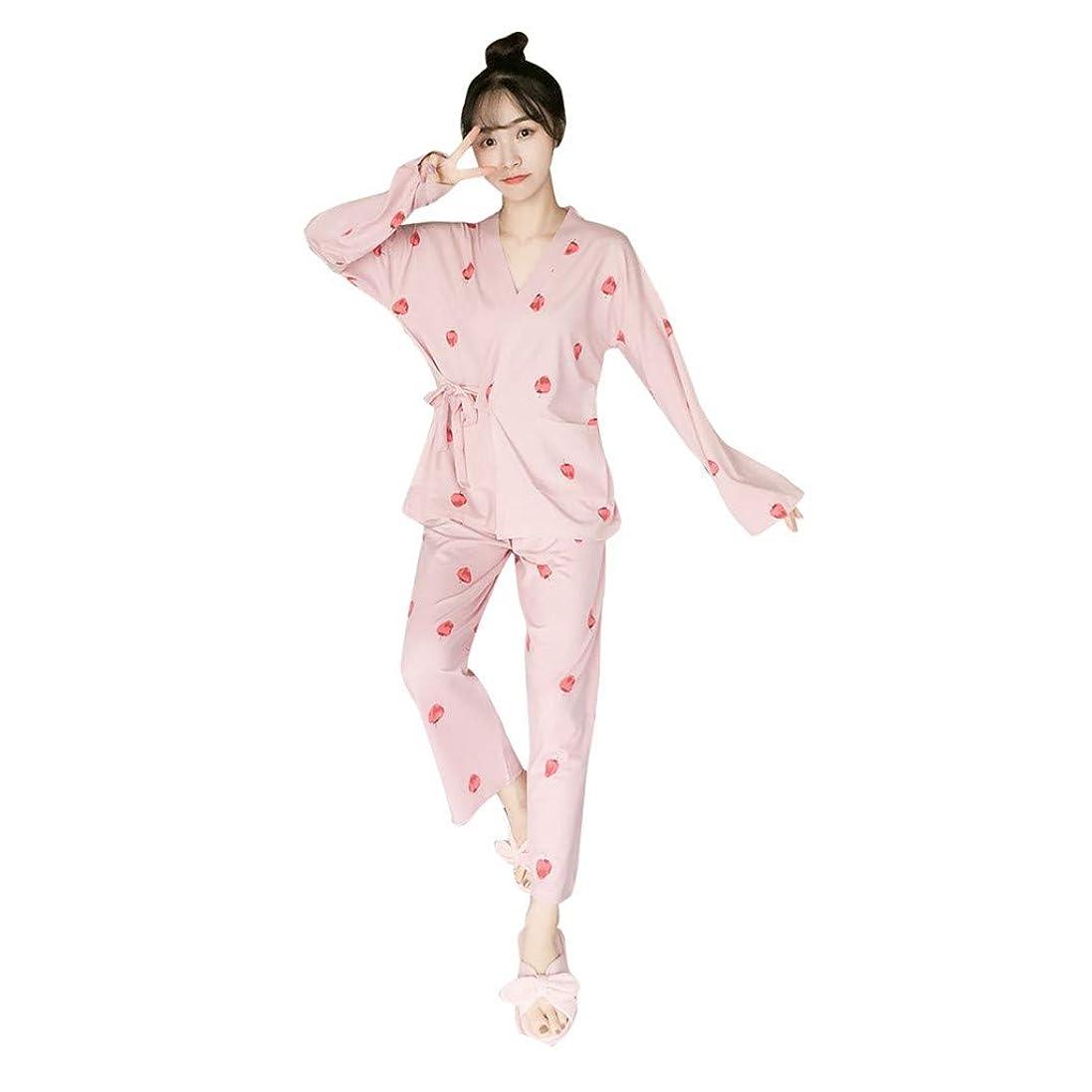 コンサルタント反乱アナログJurben女性服フルーツ着物Vネック温泉スパウェアパジャマツーピーススーツ快適で柔らかくリラックスした、スリムでセクシーな