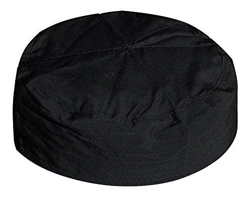 Black Flat Top Men & Kids Simple Stitch Design Cloth Muslim Kufi Namaz Cap (Large/23-inch)