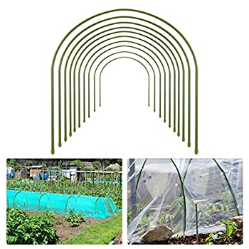 10pcs Greenhouse Hoops for Plant Cover Support- 19.7 x19.7  Rust Free Steel Gardening Houses Tunnel Support Frame with Plastic Coating Lightweight Tall Plant Grow Tunnel for Garden Fabric  Dia 8mm