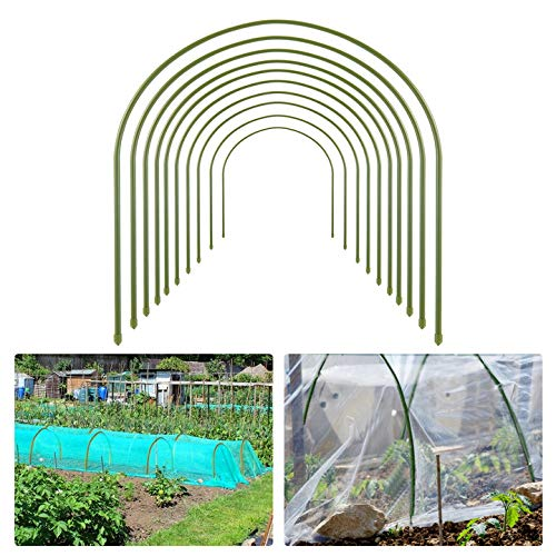 10pcs Greenhouse Hoops for Plant Cover Support- 19.7'x19.7' Rust Free Steel Gardening Houses Tunnel...