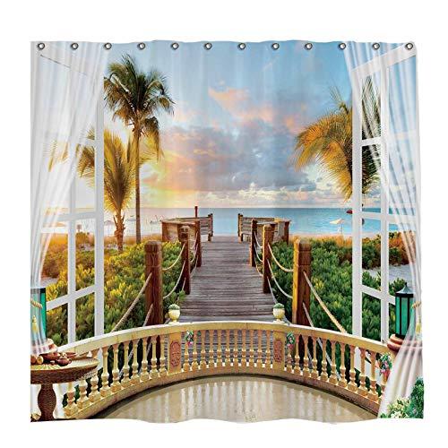 Allenjoy 72x72 inch Tropical Seaside Scenery Shower Curtain Set Hawaiian Sunset Beach Decor Home Bathroom Bathtub Curtains Durable Waterproof Washable Fabric with 12 Hooks