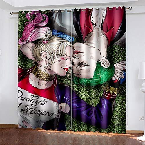 FACWAWF Hogar Simple Hombres Y Mujeres Patrón De Payaso Tela De Poliéster Sala De Estar Dormitorio Balcón Estudio Cortinas Opacas 150x166cm(2pcs)