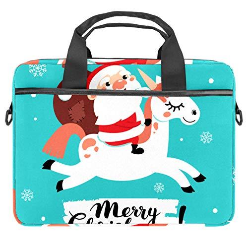 Bolsa de ordenador portátil linda Navidad Santa Claus Notebook manga con mango 13.5-14.5 pulgadas que lleva el bolso de hombro maletín