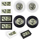 8 Pack Mini Hygrometer Thermometer Electronic Temperature Humidity Meters Gauge Round Digital Hygrometer Monitor LCD Display Indoor Outdoor Hygrometer Thermometer for Greenhouse House Kitchen