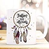 N\A Taza Taza con atrapasueños Que Dice Sigue Tus sueños Taza de café Taza de café Regalo...