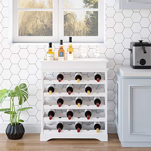 HOMFA Weinregal Flaschenregal für 24 Flaschen aus weißem Holz - 3